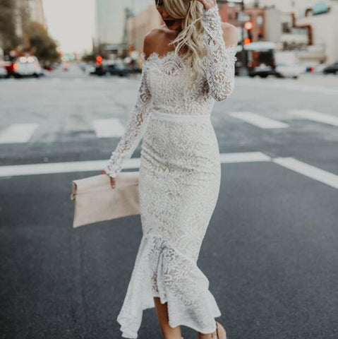 5ed3fffa9dfec1 ... Image of Ordifree 2019 Summer Women White Lace Long Dress Slash Neck  Off Shoulder Sexy Bodycon