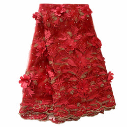 Ourwin 2018 French Lace Fabric Red Wedding High Quality African Tulle Lace Fabric 5Yard 3D Flowers Embroidered Tulle Lace fabric