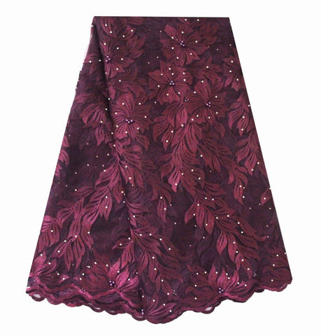 Ourwin African Beaded Lace Fabric 2018 High Quality Lace Material Wine French Lace Fabric Nigerian Tulle Mesh Lace Fabrics