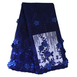 Ourwin French Lace Fabric With Stones, Beaded Royal Blue French Fabric, Cheap African Lace French Lace Flower 3D Fabric