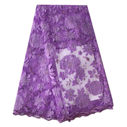 Ourwin New Arrival Laser Cut Lace Fabric High Quality African Lace Fabric for Wedding Dress Lilac Net Lace Fabric with Stones