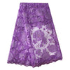 Image of Ourwin New Arrival Laser Cut Lace Fabric High Quality African Lace Fabric for Wedding Dress Lilac Net Lace Fabric with Stones