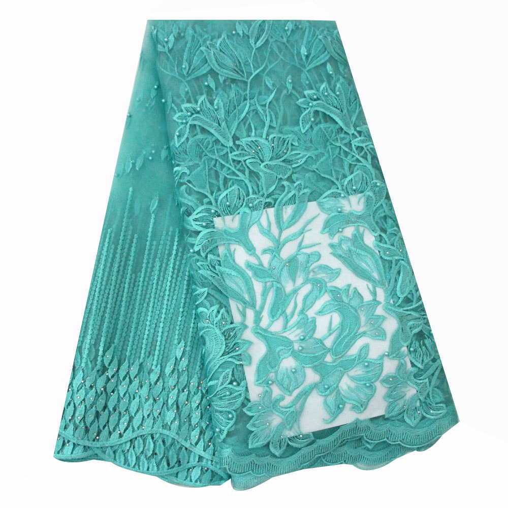 ... Ourwin Teal Black Lace Fabric 2018 Embroidery Beaded Lace Fabric High  Quality African Lace Fabrics for ... ec379bf38d9b