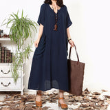 Oversized 2018 Summer Women Bohemian Ethnic Casual Loose Ankle-length Dress Sexy Vintage V Neck Half Sleeve Pockets Dresses Vestidos Plus Size