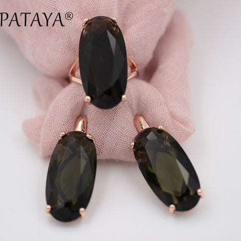 PATAYA 17 colors 585 Rose Gold Women Vintage Fine Jewelry Multicolor Artificial Cubic Zircon  Big Dangle Earrings Rings Sets