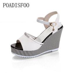 POADISFOO 2018 summer women's platform wedges Waterproof Sandals 10cm Super high heel women Shoes Gingham PVC Sandals.HYKL-922