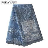 PQDAYSUN Latest African Laces Fabric 2018 High Quality Lace Embroidered Nigerian Beaded Lace Fabric Net Tulle French Lace Fabric