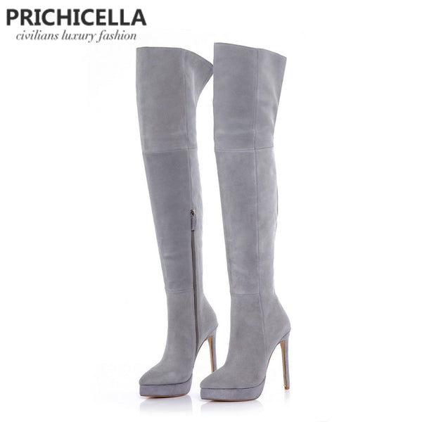 PRICHICELLA 14cm stiletto high heel grey suede platform thigh high riding boots over the knee booties size34-42