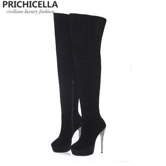 PRICHICELLA platform stiletto heels round toe leather over the knee boots crystal studded heel genuine leather thigh booties