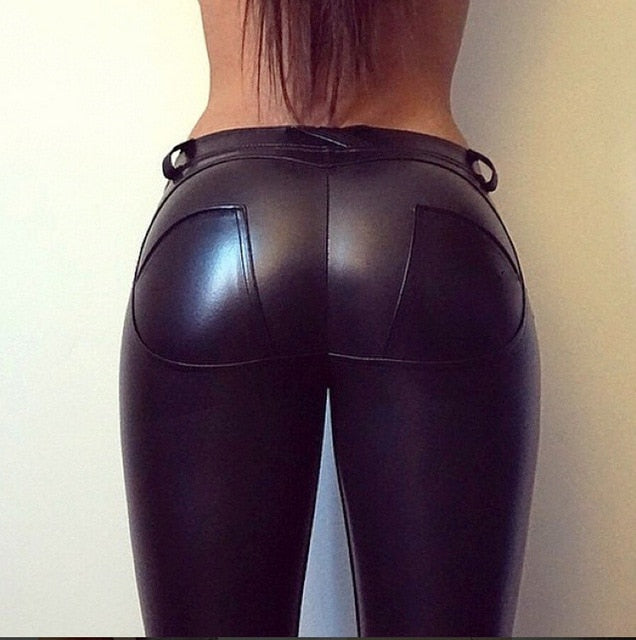 462f8b8a81ef2 PU Leather Butt Lifter Low Waist Leggings Heart Push Up Sexy Leggings Women  Plus Size Winter. Hover to zoom