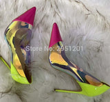 PVC Transparent Women Pumps Shoes Spring Autumn High Heels 12CM Shining Dress Pumps Sexy Party Wedding shoes Size 35-45