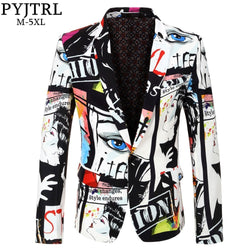 PYJTRL Brand 2018 New Tide Mens Fashion Print Blazer Design Plus Size Hip Hot Casual Male Slim Fit Suit Jacket Singer Costume
