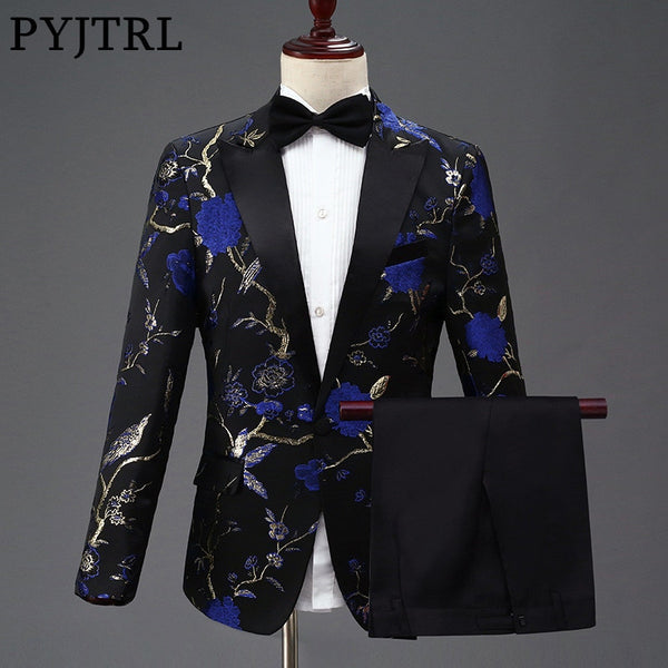 PYJTRL New Design Mens Stylish Embroidery Royal Blue Green Red Floral Pattern Suits Stage Singer Wedding Groom Tuxedo Costume