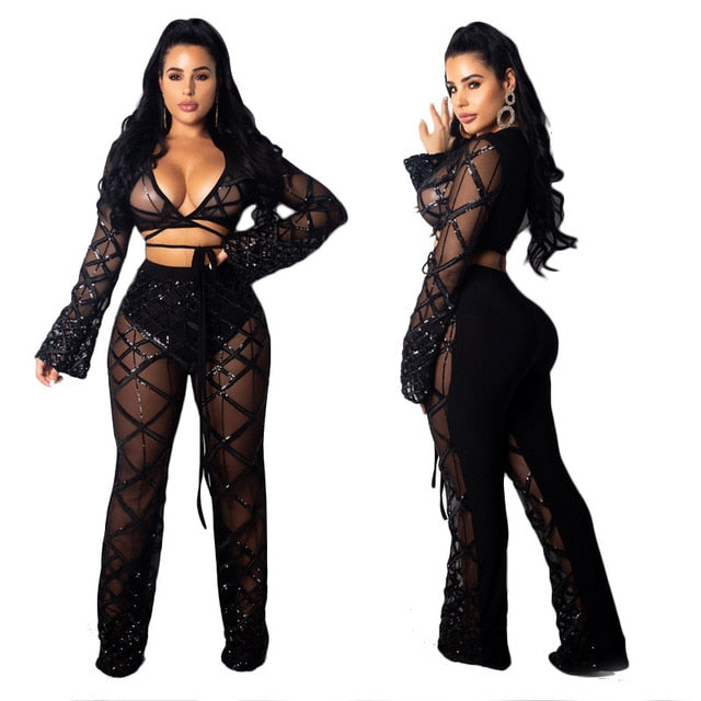 acc3e1dc81 Party Club Wear Sexy Sequin Two Piece Set Outfits Women See Through Sheer  Mesh Crop Top and Pants Sparkly 2 Piece Matching Set