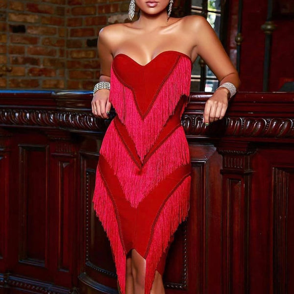 Party Dresses Women Evening Elegant 2020 Sexy Sleeveless Backless Strapless Low Cut Fringe Dress Ladies Bodycon Tassel Dress