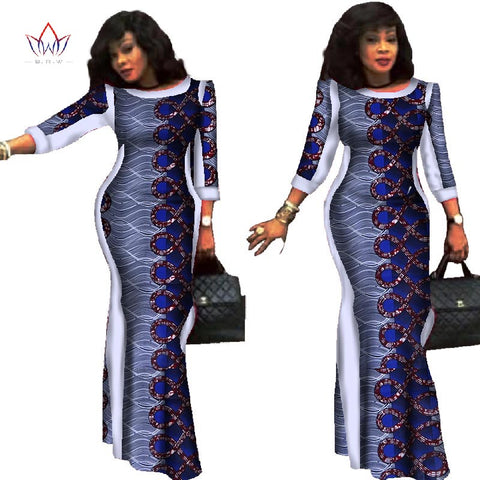Party dresses 2018 New style African Dresses for Women Bazin Riche Plus Size African Wax Print 100% Cotton Dresses WY304 1