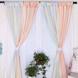 Pastoral Tab-top sheer curtain bedroom Roman rod partition curtain yarn window curtain living room LQ