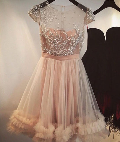 Image of Peach 2019 Homecoming Dresses A-line Cap Sleeves Short Mini Tulle Pearls See Through Elegant Cocktail Dresses