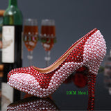 Pearl Diamond Ultra High Heel Pumps Genuine Leather Wedding Shoes Bride Women Waterproof Pumps Wine Red Shoes Big Size 43