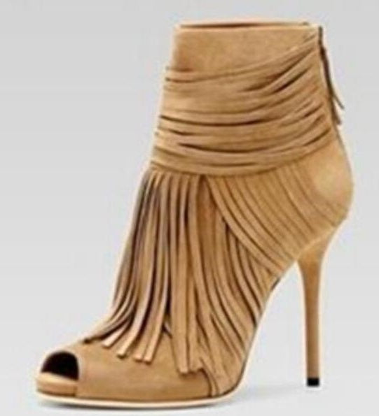 a443b1b2240a Peep Toe Fringe Ankle Boot Sexy Thin Heels Back Zipper Cage Shoes For Woman  Tassel Gladiator ...