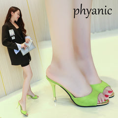 f5520b46a545 Phyanic Pink Green Fashion Female Slippers Leather Open Toe Sandals Summer  Women Shoes Mules Ladies High ...