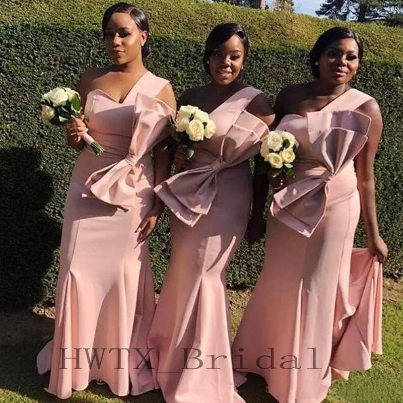 95d7cbdadf9ee Pink Long Bridesmaid Dresses 2018 One Shoulder Satin Sexy Mermaid African  Girls Wedding Guest Dress Cheap Maid Of Honor Gowns