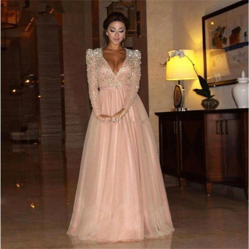 eee522e7aaac5 Pink Muslim Evening Dresses 2018 A-line V-neck Long Sleeves Tulle Crystals  Islamic. Hover to zoom