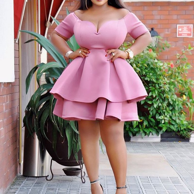 Pink Women Mini Dress 2019 Summer Plus Size Women Dresses Plain Falbala  Chic Retro Female Elegant Ruffles African Dress
