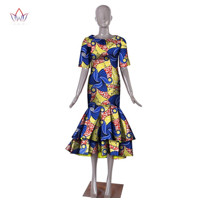 b75314518e Plus Size 2018 New African Dresses for Women Dashiki Elegant Slim Africa  Clothes Bazin Riche Sheath Pleated Party Dress WY1027