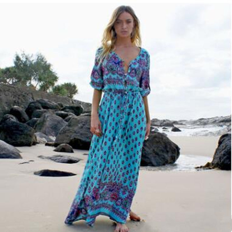33a2c30b24 Plus Size 2018 Summer Long Maxi Dress Women Sexy V Neck Sundress Boho  Floral Print Half. Hover to zoom