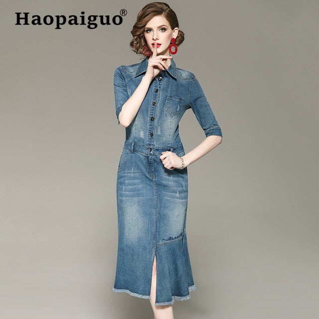 Plus Size 2019 Spring Summer Vintage Jean Dress Women Blue Bandage ...
