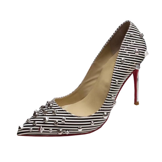 Plus Size 34-45 Black/White Strips Patent Genuine Leather Sexy Studs Women Thin High Heels Stilettos Party Dress Shoes