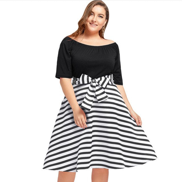 1cdd087186 Plus Size 5XL O Neck Short Sleeves Stripe Belted Midi Dress Vintage  Rockabilly Robe Mujer Women. Hover to zoom