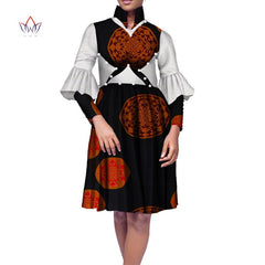 Plus Size Africa Dress For Women African Wax Print Dresses Dashiki Plus Size Africa Style Clothing for Women Office Dress WY1635