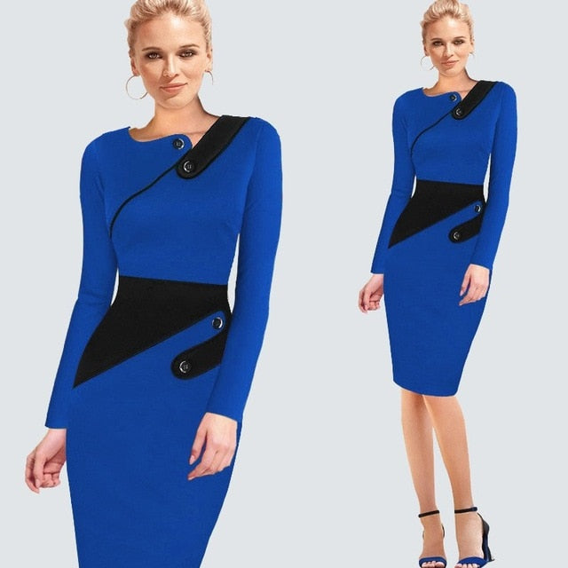1b810e4a76 Plus Size Elegant Wear To Work Women Office Business Dress Casual Tunic  Bodycon Sheath Fitted Formal Pencil Dress B63 B231