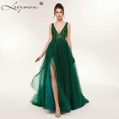 1a0969ae3b6 Plus Size High Side Split Green Prom Dress A-Line Tulle Long Party Dress  Beaded ...