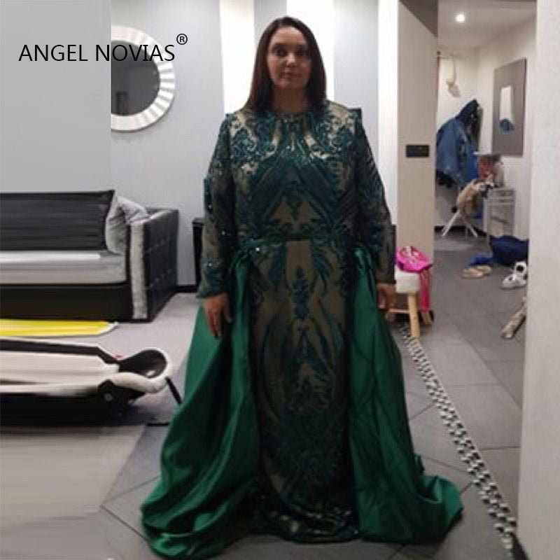 Plus Size Long Sleeve Green Evening Dresses 2019 Long Abendkleider 2018  Prom Party Dress Saudi Arabic robe de soiree