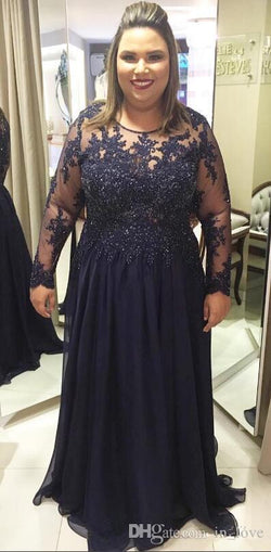 Plus Size Navy Mother of the Bride Dresses 2019 See Through Long Sleeve Beads Lace Chiffon Floor Length Women Formal Gowns