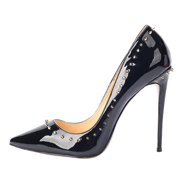 Plus Size Pointed Toe Mirror Patent Leather Sexy Rivets Women High Heels Dress Shoes For Party