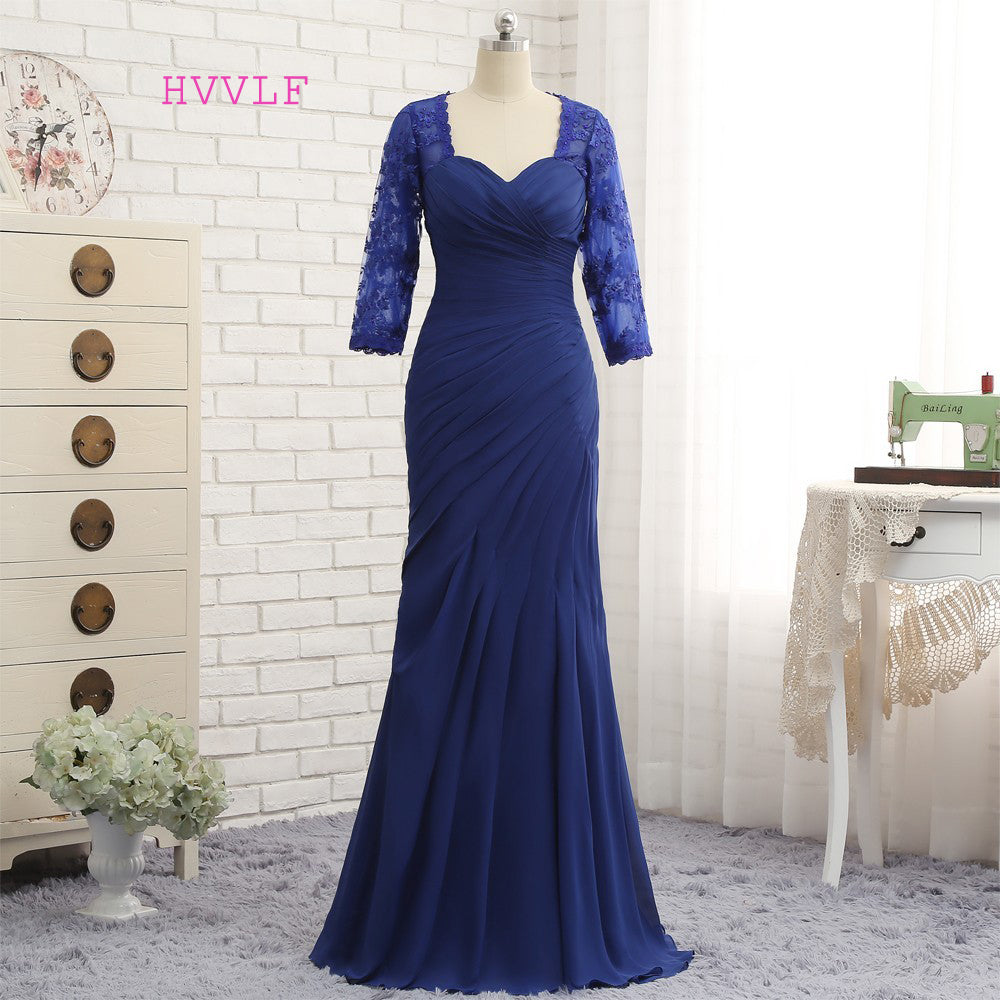 Plus Size Royal Blue 2018 Mother Of The Bride Dresses Mermaid 3/4 Sleeves  Lace Long Evening Dresses Mother Dresses For Wedding 1