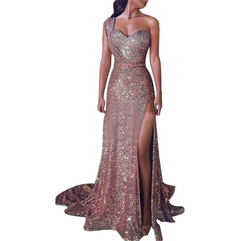 Plus Size S-5XL Women's Sexy Off One Shoulder Gold Stamp Floor-length Dress Female Split Dress Long Maxi Party Dress