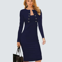 e23514fce41 Plus Size Sexy Lady Bodycon Dress Women Sheath Long Sleeve Double-Breasted  Buttons Causal Work ...