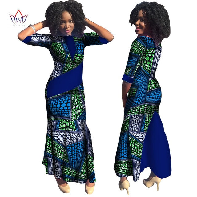 Plus Size Summer dresses women 2019 traditional african fashion Clothing  Africa Wax Dashiki long cotton dress natural 7xl WY814