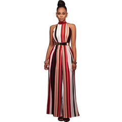 0ce6cbb01597 ... Plus Size Turtleneck Wide Leg Overalls Fashion Women Striped Print  Sleeveless Tie Up Back Long Pant