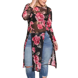 Plus Size Women Floral See-Through Split Blouse 2018 Fashion Female O Neck Long Sleeve Tops Long Sexy Blouse