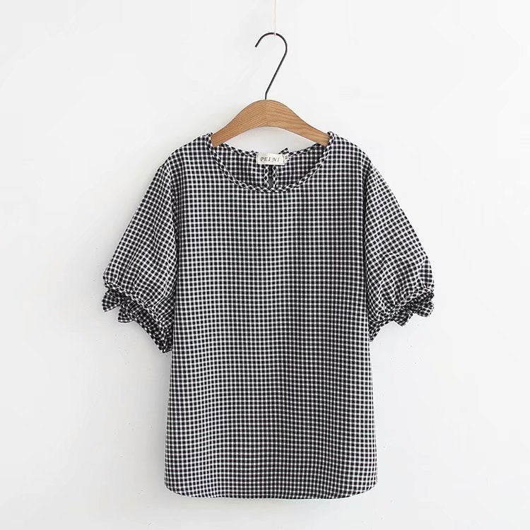 327f96c4d Plus size cotton short Sleeve women t shirt 2018 pink & black plaid bow  t. Hover to zoom