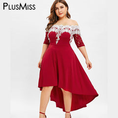 PlusMiss Plus Size 5XL Sexy Off The Shoulder Maxi Long Dress Women Lace  Crochet Elegant Party ... 7f97983ecda3