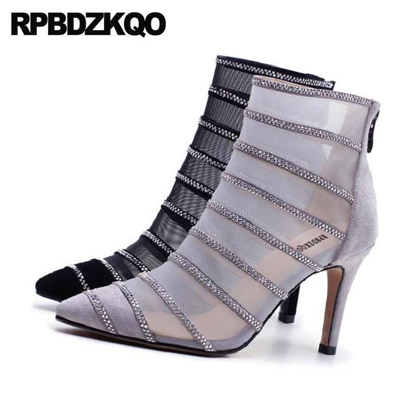 Pointed Toe High Heel Designer Shoes Women Luxury 2018 Ankle Rhinestone  Grey Mesh Stiletto Boots Booties ... 4ae1281a4c7f