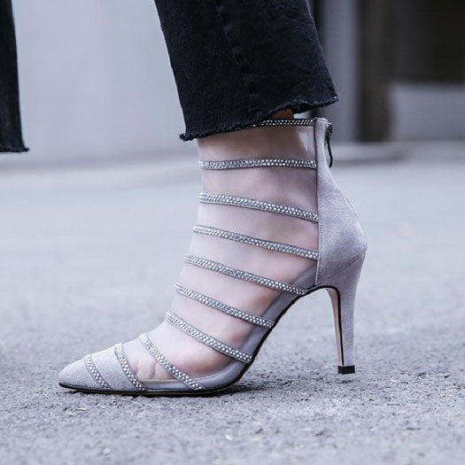7ffa849a8c9c Pointed Toe High Heel Designer Shoes Women Luxury 2018 Ankle Rhinestone  Grey Mesh Stiletto Boots Booties. Hover to zoom