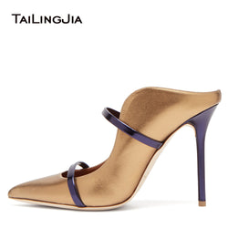 Pointed Toe Women Pumps High Heels Slip on Fashion Satin Thin High Heels Women Mules Elegant Ladies Shoes Slippers Women Shoes